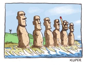 Editorial Cartoon U.S. Rising Ocean Easter Island