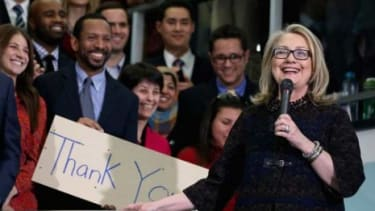 Hillary Clinton delivers her farewell address to the staff before leaving her position as the secretary of state on Feb. 1.