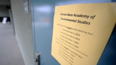 A sign is posted on a door at the Carson-Gore Academy of Environmental Sciences on September 7, 2010 in Los Angeles, California.