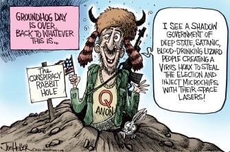 Political Cartoon U.S. qanon groundhogs day