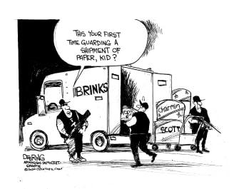 Editorial Cartoon U.S. Coronavirus Brinks Charmin hoarding security truck