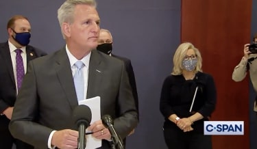 House Minority Leader Kevin McCarthy and Rep. Liz Cheney.