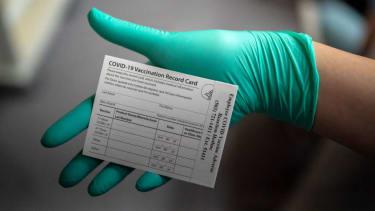 A COVID-19 vaccination card.