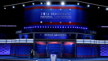 The Democratic National Convention stage.