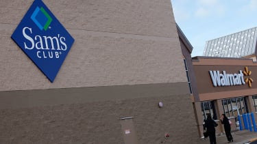 A Sam's Club next to a Walmart.