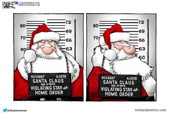 Editorial Cartoon U.S. Santa Claus COVID lockdown