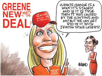 Political Cartoon U.S. marjorie taylor greene qanon aoc