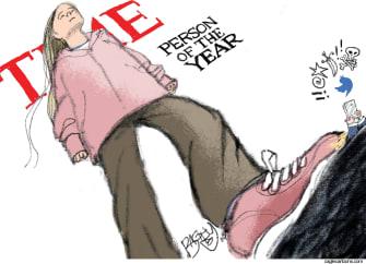 Political Cartoon U.S. Greta Time Magazine Person of the Year