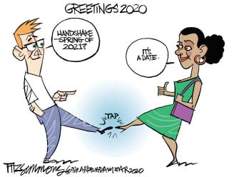 Editorial Cartoon U.S. Coronavirus COVID-19 dating handshakes socializing contact