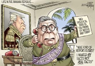 Political Cartoon U.S. Barr FBI Probe Investigation Fascist Banana Republic