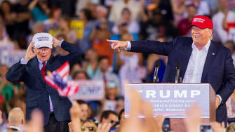 Sen. Jeff Sessions and Donald Trump during a 2015 rally.