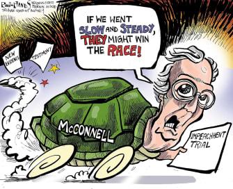 Political Cartoon U.S. Mitch McConnell Impeachment Senate trails turtle