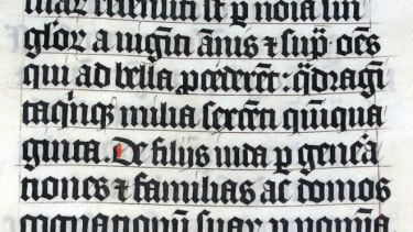 Calligraphy from a Latin Bible of AD 1407.