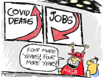 Political Cartoon U.S. Trump COVID deaths jobs 2020