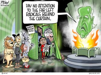 Political Cartoon U.S. Biden far left Wizard of Oz