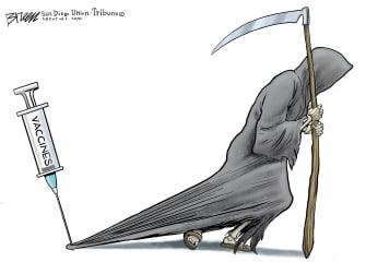 Editorial Cartoon World COVID vaccines