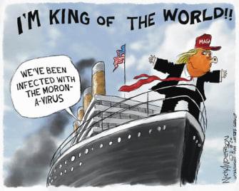 Political Cartoon U.S. Trump sailing MAGA Coronavirus China