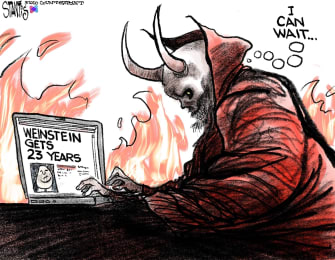 Editorial Cartoon U.S. Harvey Weinstein Hollywood Lucifer sentence hell