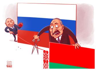 Political Cartoon World Vladimir Putin Alexander Lukashenko Russia Belarus oil deal rejection cutting ties