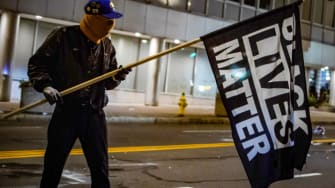 A protester in Rochester New York.