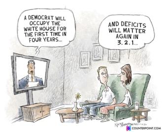 Political Cartoon U.S. Democrats deficits