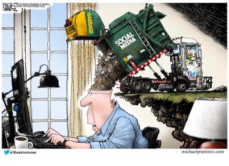Editorial Cartoon U.S. garbage social media