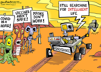 Editorial Cartoon U.S. mars rover perseverance covid