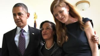 President Obama walks with Susan Rice (center) and Samantha Power after announcing the change in personnel on June 5.