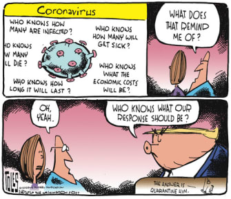 Political Cartoon U.S. Trump CDC Coronavirus response quarantine questions