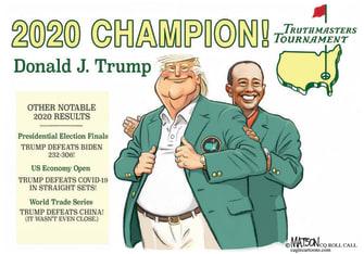 Political Cartoon U.S. Trump Tiger Woods Masters loss