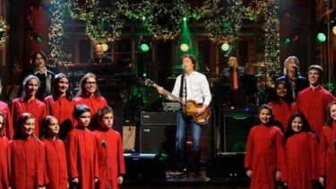 Paul McCartney accompanies a children's choir on Saturday Night Live one day after the Newtown shooting.