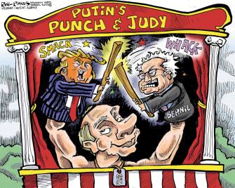 Political Cartoon U.S. Trump Bernie Sanders Vladimir Putin puppets interference 2020 presidential election