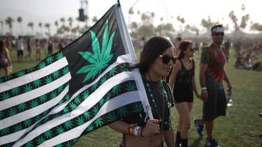 Flag with marijuana symbols