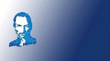 Steve Jobs drawn in pencil shavings.