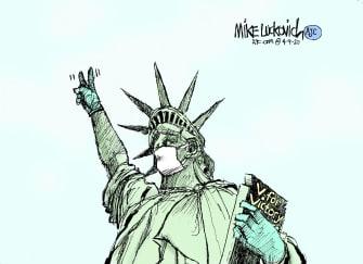 Editorial Cartoon U.S. NYC sees curve flattening coronavirus social distancing