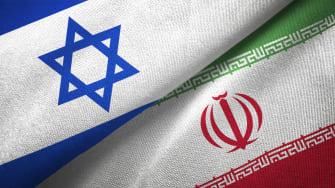 Iranian and Israeli flags.
