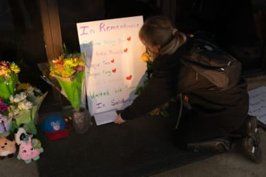 A memorial to the Youngs Asian Massage victims.