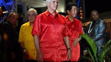Vice President Mike Pence arrives for a photo during the Asia-Pacific Economic Cooperation summit