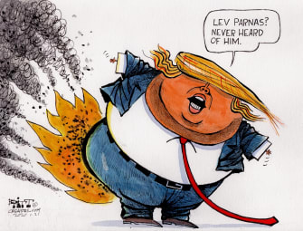 Political Cartoon U.S. Trump Lev Parnas Rudy Giuliani Ukraine scandal