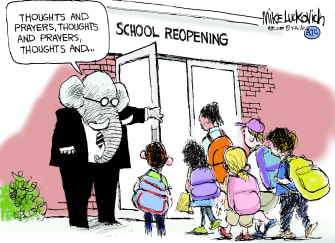 Political Cartoon U.S. GOP coronavirus school reopening
