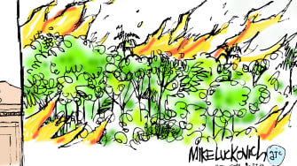 Political Cartoon U.S. Trump Putting out Fires in the Amazon Nuclear Bomb