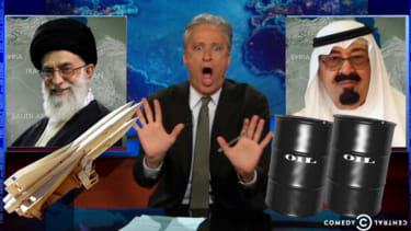 Jon Stewart takes the U.S.-Iran 'strange bedfellows' line literally, imagines Iraq as a love triangle