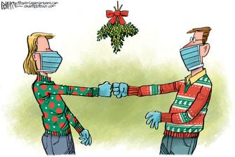 Editorial Cartoon U.S. Christmas Mistletoe COVID