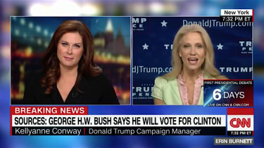 Trump campaign manager Kellyanne Conway mocks the Bush family