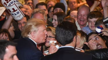 Donald Trump mingles in a crowd of supporters at a Las Vegas rally