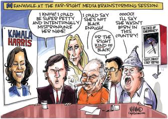 Political Cartoon U.S. Far-Right Fox News Hosts Ann Coulter Tucker Carlson Rush Limbaugh InfoWars Alex Jones Dinesh D'Souza Racist Kamala Harris