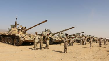 Saudi-backed Yemeni government fighters ahead of offensive
