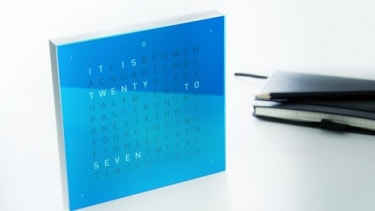 The Qlocktwo displays the time typographically instead of numerically, it's available in a variety of colors and languages.