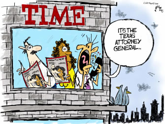 Political Cartoon U.S. Trump Biden Harris Texas lawsuit Time magazine