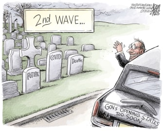 Political Cartoon U.S. republican governors reopening deaths second wave coronavirus